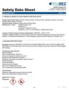 ProPoxy Moisture Block Safety Data Sheet